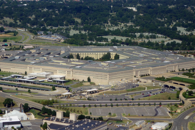 The Pentagon is seen from the air over Washington, D.C., on Aug. 25, 2013.