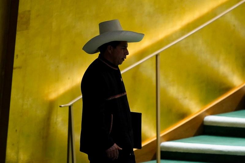 Peruvian President Pedro Castillo arrives to address the U.N. General Assembly.