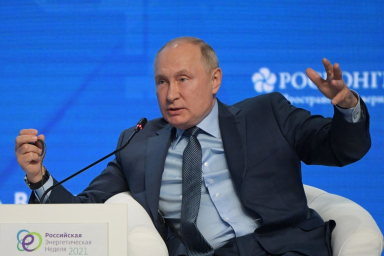 Russian President Vladimir Putin attends a session of the Russian Energy Week International Forum in Moscow on Oct. 13.