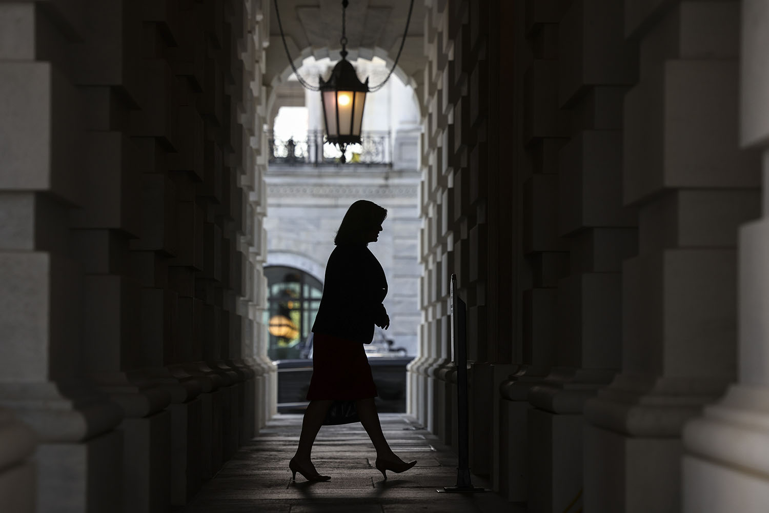 U.S. Sen. Joni Ernst (R-Iowa) arrives at the U.S. Capitol in Washington on Sept. 27. Kevin Dietsch/Getty Images