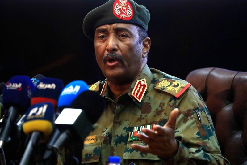 Top Sudanese Gen. Abdel Fattah al-Burhan speaks at a press conference.