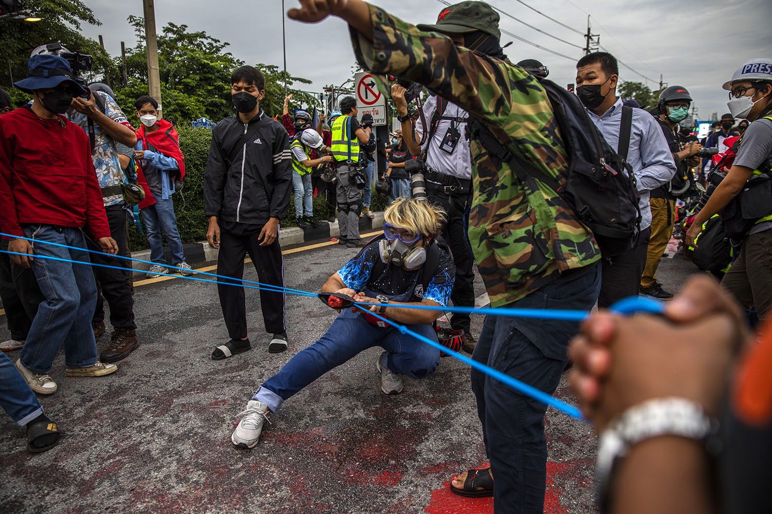 Anti-government protesters launch paint balloons at Thai police during a rally on Sept. 25 in Bangkok. Lauren DeCicca/Getty Images
