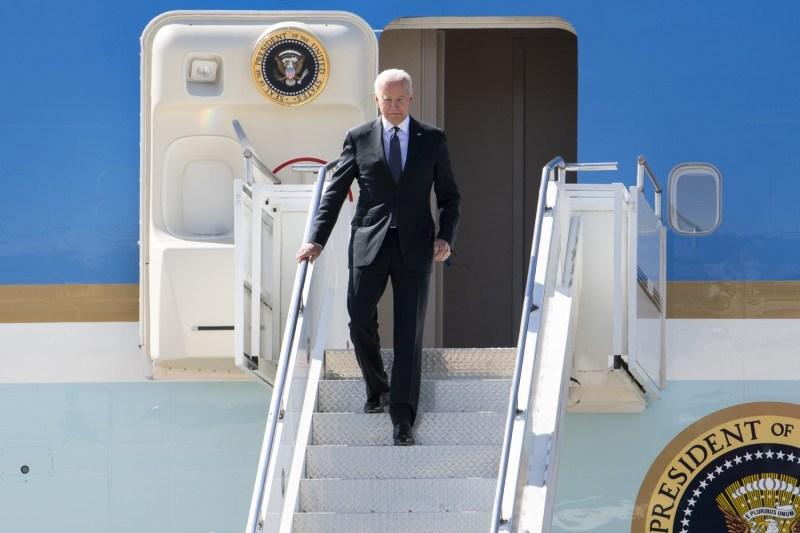 U.S. President Joe Biden disembarks from Air Force One in Geneva prior to a U.S.-Russian summit on June 15.