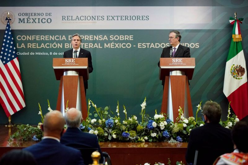 U.S. Secretary of State Antony Blinken speaks during a joint news conference with Mexican Foreign Minister Marcelo Ebrard at the Mexican Ministry of Foreign Affairs in Mexico City on Oct. 8.