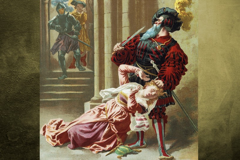 FRANCE - CIRCA 2002: Bluebeard, illustration by Guillon for an edition of the tales by Charles Perrault (1628-1703) published in Paris in the late 19th century. (Photo by DeAgostini/Getty Images)