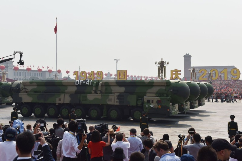 Military vehicles carry China's DF-41 nuclear-capable intercontinental ballistic missiles in a military parade at Tiananmen Square in Beijing on Oct. 1, 2019, to mark the 70th anniversary of the founding of the People's Republic of China.