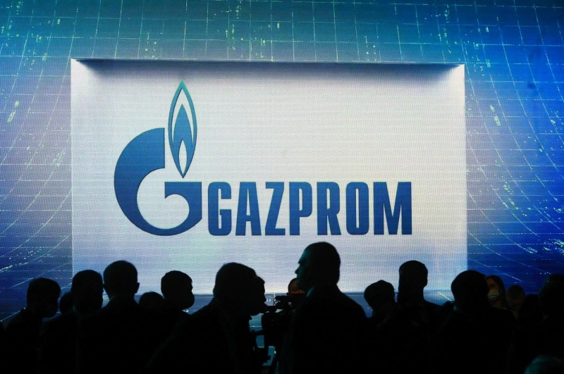 The Gazprom logo is seen at the International Gas Forum in St. Petersburg on Oct. 7.