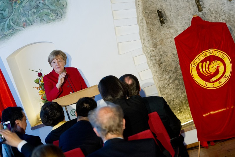 German Chancellor Angela Merkel speaks at the opening of the Confucius Institute in Stralsund, Germany, on Aug. 30, 2016.