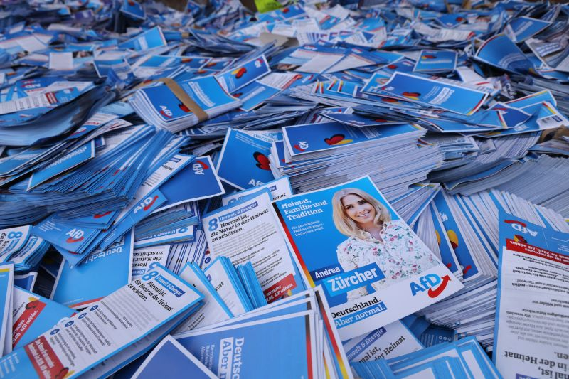 Campaign flyers for the far-right Alternative for Germany (AfD) party