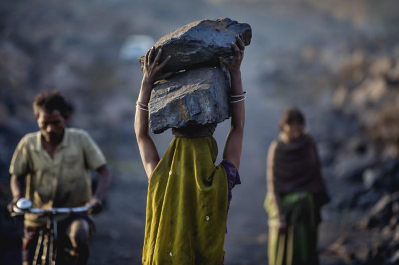Woman working in Indian coal mine