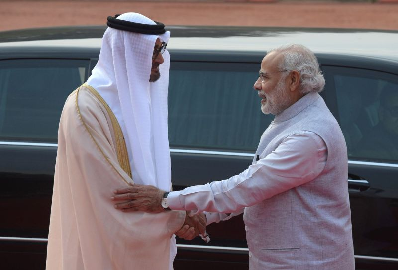 Indian Prime Minister Narendra Modi shakes hands with Abu Dhabi's Crown Prince Sheikh Mohammed bin Zayed al-Nahyan in New Delhi on Feb. 11, 2016.