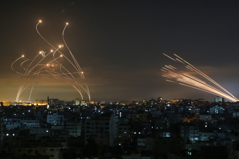 The Israeli Iron Dome missile defense system intercepts rockets fired from Gaza into southern Israel on May 14.