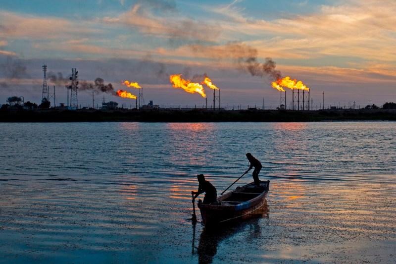 Flare stacks burn in Iraq.