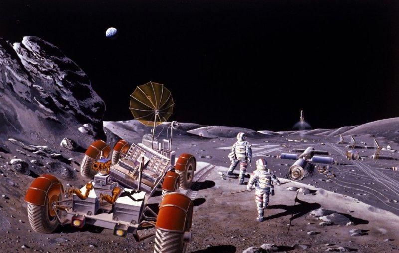 Artist's rendering of a lunar exploration base.