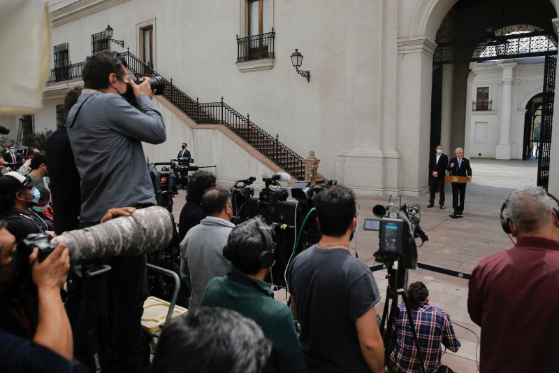 Chilean President Sebastián Piñera delivers a press conference a day after he was mentioned in the Pandora Papers, a media investigation exposing world leaders' use of tax havens, at La Moneda presidential palace in Santiago, Chile, on Oct. 4.