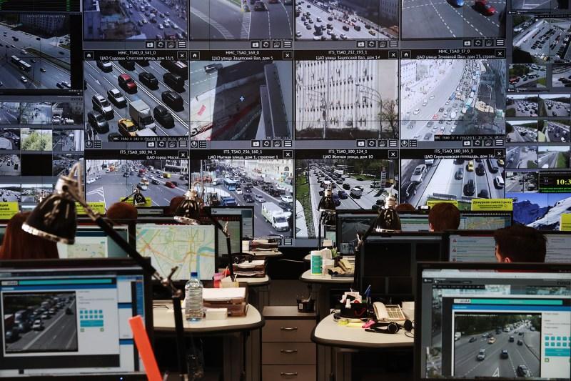 A situation room monitors traffic camera data
