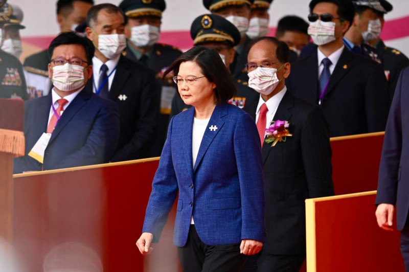Taiwanese President Tsai Ing-wen attends national day celebrations in Taipei on Oct. 10.